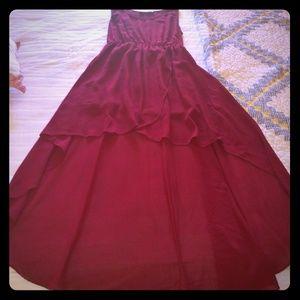 Dark red high-low dress